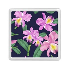 Vector Hand Drawn Orchid Flower Pattern Memory Card Reader (square) by Sobalvarro