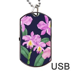 Vector Hand Drawn Orchid Flower Pattern Dog Tag Usb Flash (two Sides) by Sobalvarro