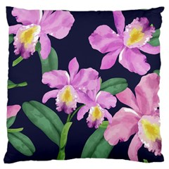 Vector Hand Drawn Orchid Flower Pattern Large Cushion Case (two Sides) by Sobalvarro