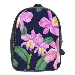 Vector Hand Drawn Orchid Flower Pattern School Bag (xl) by Sobalvarro