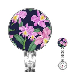 Vector Hand Drawn Orchid Flower Pattern Stainless Steel Nurses Watch