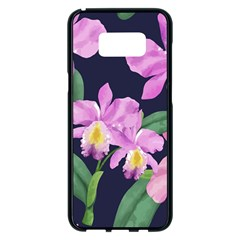 Vector Hand Drawn Orchid Flower Pattern Samsung Galaxy S8 Plus Black Seamless Case by Sobalvarro
