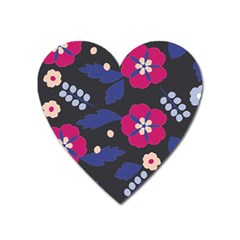 Vector Seamless Flower And Leaves Pattern Heart Magnet by Sobalvarro