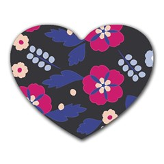 Vector Seamless Flower And Leaves Pattern Heart Mousepads by Sobalvarro