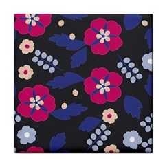Vector Seamless Flower And Leaves Pattern Face Towel