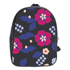 Vector Seamless Flower And Leaves Pattern School Bag (large)