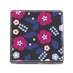Vector Seamless Flower And Leaves Pattern Memory Card Reader (square 5 Slot) by Sobalvarro