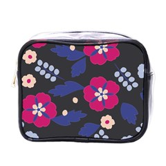 Vector Seamless Flower And Leaves Pattern Mini Toiletries Bag (one Side)
