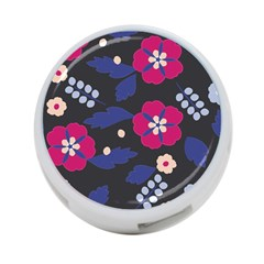 Vector Seamless Flower And Leaves Pattern 4-port Usb Hub (one Side)