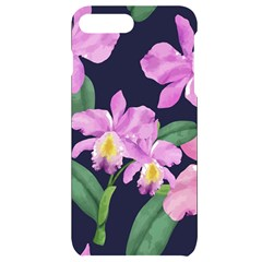 Vector Hand Drawn Orchid Flower Pattern Iphone 7/8 Plus Black Uv Print Case by Sobalvarro
