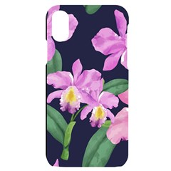 Vector Hand Drawn Orchid Flower Pattern Iphone X/xs Black Uv Print Case by Sobalvarro