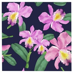 Vector Hand Drawn Orchid Flower Pattern Wooden Puzzle Square by Sobalvarro