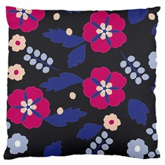 Vector Seamless Flower And Leaves Pattern Large Flano Cushion Case (two Sides)
