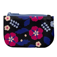 Vector Seamless Flower And Leaves Pattern Large Coin Purse