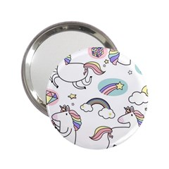 Cute Unicorns With Magical Elements Vector 2 25  Handbag Mirrors by Sobalvarro