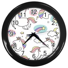 Cute Unicorns With Magical Elements Vector Wall Clock (black) by Sobalvarro