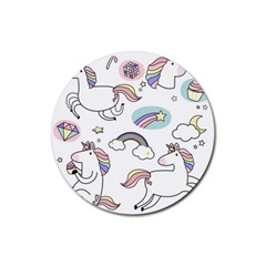 Cute Unicorns With Magical Elements Vector Rubber Round Coaster (4 Pack)  by Sobalvarro