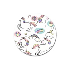 Cute Unicorns With Magical Elements Vector Magnet 3  (round) by Sobalvarro