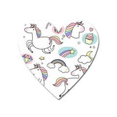 Cute Unicorns With Magical Elements Vector Heart Magnet by Sobalvarro