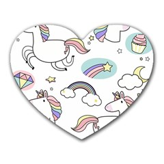 Cute Unicorns With Magical Elements Vector Heart Mousepads by Sobalvarro