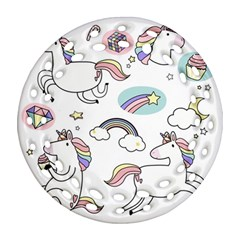 Cute Unicorns With Magical Elements Vector Round Filigree Ornament (two Sides)