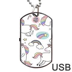 Cute Unicorns With Magical Elements Vector Dog Tag Usb Flash (one Side)
