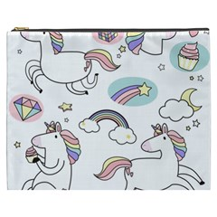 Cute Unicorns With Magical Elements Vector Cosmetic Bag (xxxl)