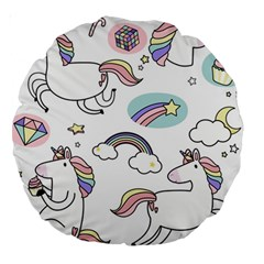 Cute Unicorns With Magical Elements Vector Large 18  Premium Round Cushions