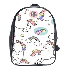Cute Unicorns With Magical Elements Vector School Bag (xl) by Sobalvarro