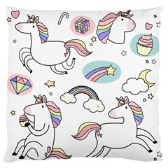 Cute Unicorns With Magical Elements Vector Large Flano Cushion Case (one Side) by Sobalvarro