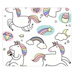 Cute Unicorns With Magical Elements Vector Double Sided Flano Blanket (small)  by Sobalvarro