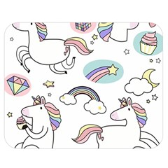 Cute Unicorns With Magical Elements Vector Double Sided Flano Blanket (medium)  by Sobalvarro