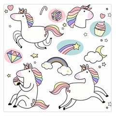 Cute Unicorns With Magical Elements Vector Large Satin Scarf (square) by Sobalvarro