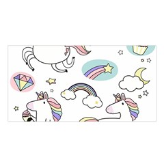 Cute Unicorns With Magical Elements Vector Satin Shawl by Sobalvarro