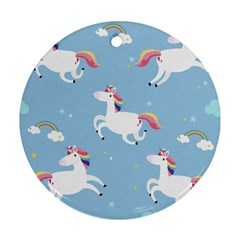 Unicorn Seamless Pattern Background Vector (2) Ornament (round) by Sobalvarro