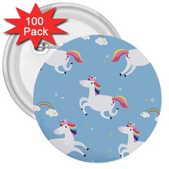 Unicorn Seamless Pattern Background Vector (2) 3  Buttons (100 Pack)  by Sobalvarro