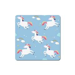 Unicorn Seamless Pattern Background Vector (2) Square Magnet by Sobalvarro