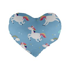Unicorn Seamless Pattern Background Vector (2) Standard 16  Premium Heart Shape Cushions
