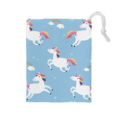 Unicorn Seamless Pattern Background Vector (2) Drawstring Pouch (large)