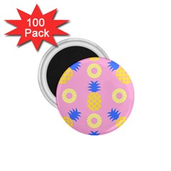 Pop Art Pineapple Seamless Pattern Vector 1 75  Magnets (100 Pack)