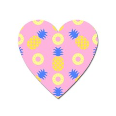 Pop Art Pineapple Seamless Pattern Vector Heart Magnet by Sobalvarro
