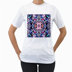 Marble Texture Print Fashion Style Patternbank Vasare Nar Abstract Trend Style Geometric Women s T-shirt (white)