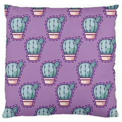 Seamless Pattern Patches Cactus Pots Plants Large Cushion Case (two Sides)