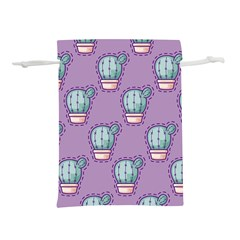 Seamless Pattern Patches Cactus Pots Plants Lightweight Drawstring Pouch (s)