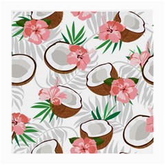 Seamless Pattern Coconut Piece Palm Leaves With Pink Hibiscus Medium Glasses Cloth (2 Sides)