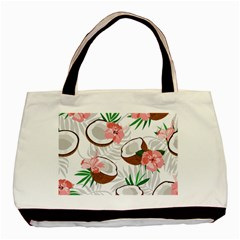 Seamless Pattern Coconut Piece Palm Leaves With Pink Hibiscus Basic Tote Bag (two Sides)