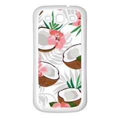 Seamless Pattern Coconut Piece Palm Leaves With Pink Hibiscus Samsung Galaxy S3 Back Case (white)
