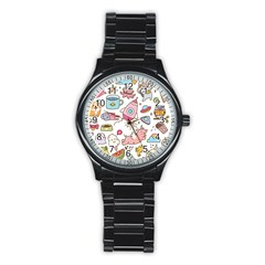 Set Kawaii Doodles Stainless Steel Round Watch