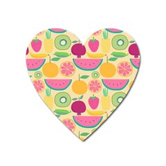 Seamless Pattern With Fruit Vector Illustrations Gift Wrap Design Heart Magnet by Vaneshart