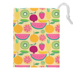 Seamless Pattern With Fruit Vector Illustrations Gift Wrap Design Drawstring Pouch (4xl)